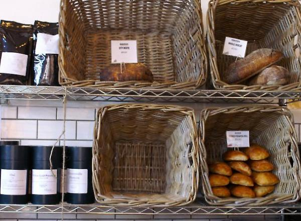 daily bread baskets with subway tile background