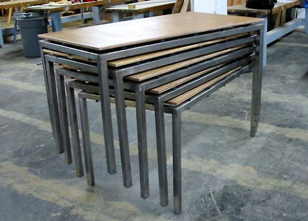 stacked tables in the shop