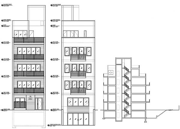 street elevation and building section