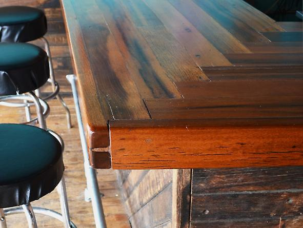 bar detail with boardwalk planks