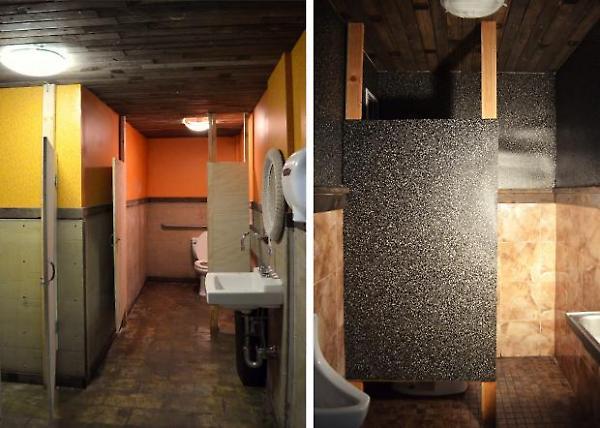 women's and men's bathrooms